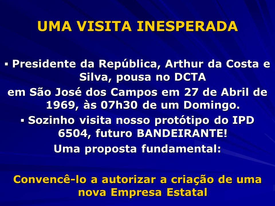 UMA VISITA INESPERADA Presidente da República, Arthur da Costa e Silva, pousa no DCTA Presidente da República, Arthur da Costa e Silva, pousa no DCTA