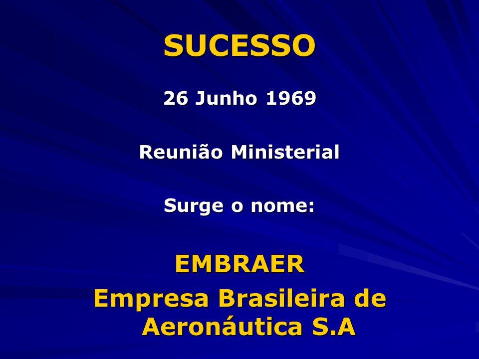 SUCESSO 26 Junho 1969 Reunião Ministerial Surge o nome: EMBRAER Empresa Brasileira de Aeronáutica S.A