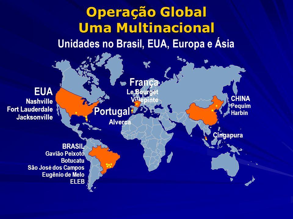 Operação Global Uma Multinacional Unidades no Brasil, EUA, Europa e Ásia França Le Bourget Villepinte Cingapura EUA Nashville Fort Lauderdale Jacksonv