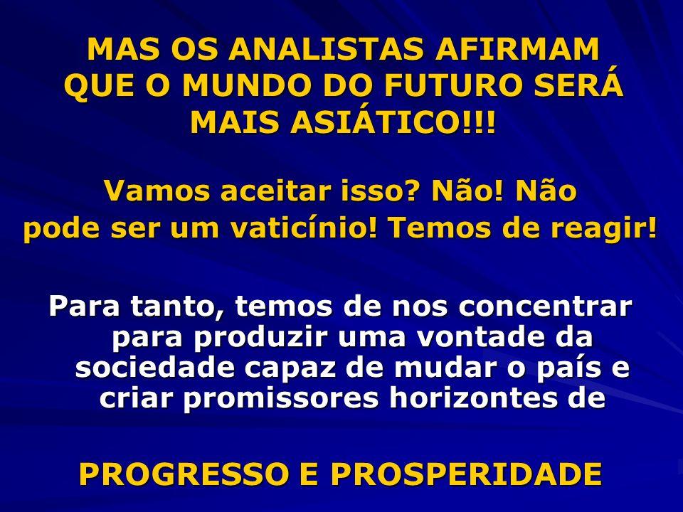 MAS OS ANALISTAS AFIRMAM QUE O MUNDO DO FUTURO SERÁ MAIS ASIÁTICO!!.