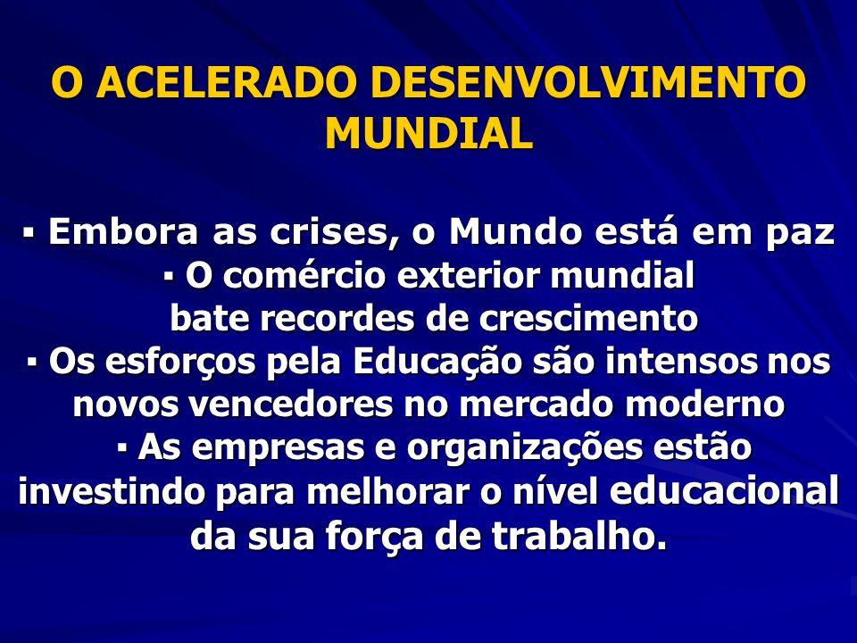 O ACELERADO DESENVOLVIMENTO MUNDIAL Embora as crises, o Mundo está em paz Embora as crises, o Mundo está em paz O comércio exterior mundial O comércio