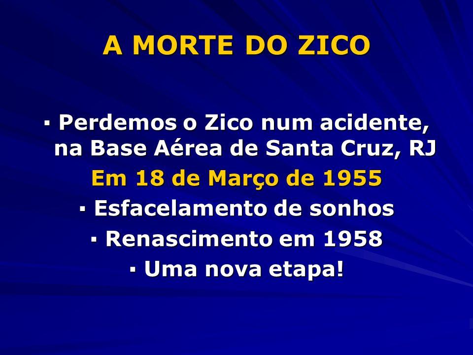 A MORTE DO ZICO Perdemos o Zico num acidente, na Base Aérea de Santa Cruz, RJ Perdemos o Zico num acidente, na Base Aérea de Santa Cruz, RJ Em 18 de Março de 1955 Esfacelamento de sonhos Esfacelamento de sonhos Renascimento em 1958 Renascimento em 1958 Uma nova etapa.