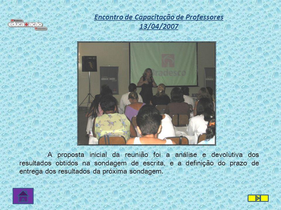 A proposta inicial da reunião foi a análise e devolutiva dos resultados obtidos na sondagem de escrita, e a definição do prazo de entrega dos resultad