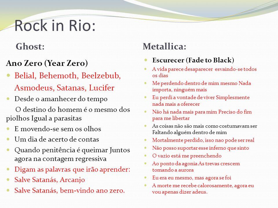 Rock in Rio: Ghost: Metallica: Ano Zero (Year Zero) Belial, Behemoth, Beelzebub, Asmodeus, Satanas, Lucifer Desde o amanhecer do tempo O destino do ho