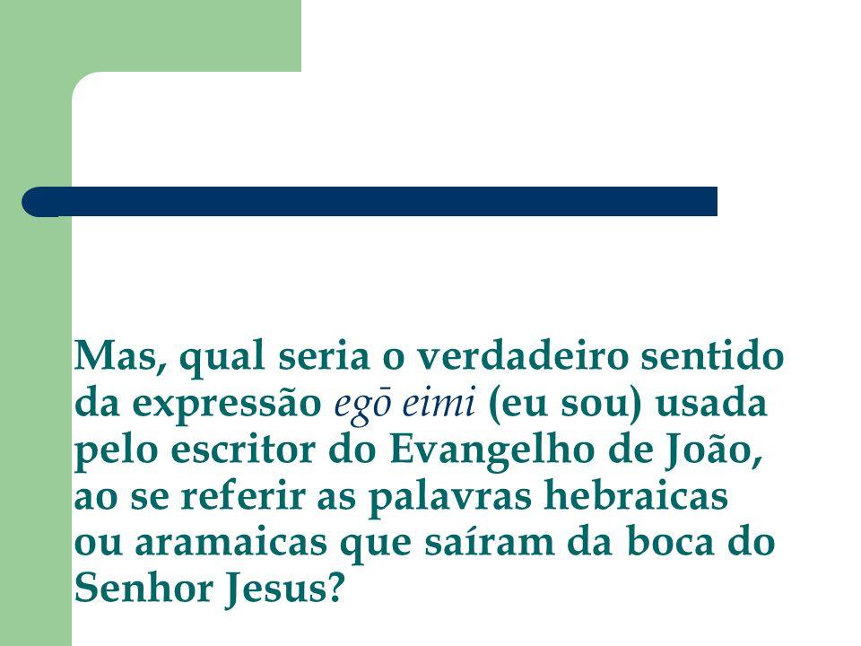 Mas, qual seria o verdadeiro sentido da expressão egō eimi (eu sou) usada pelo escritor do Evangelho de João, ao se referir as palavras hebraicas ou a