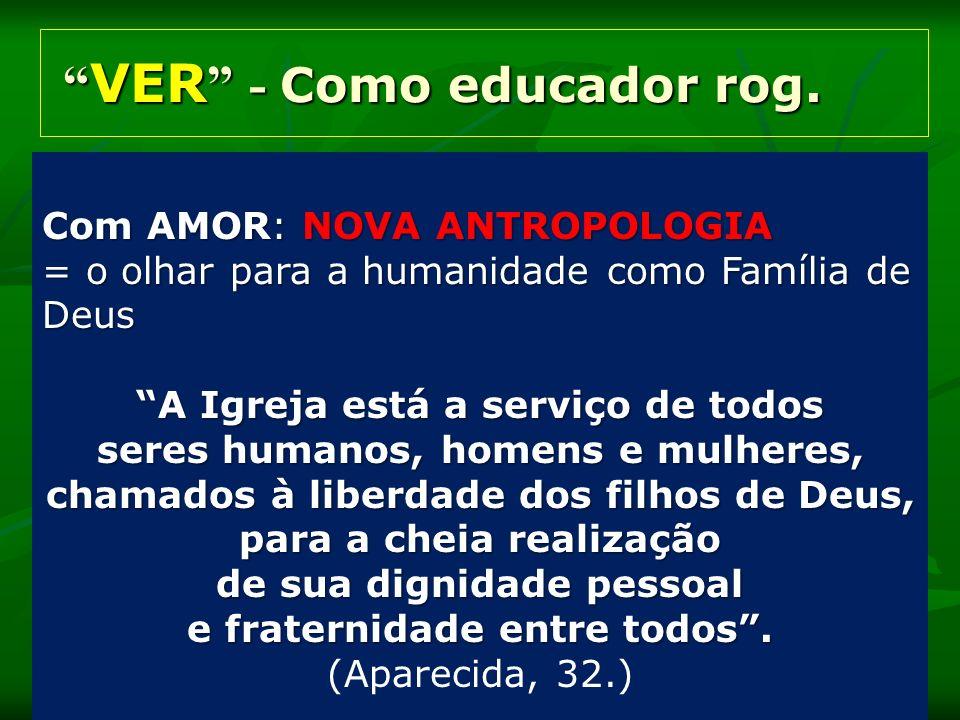VER - Como educador rog. VER - Como educador rog. Com AMOR: NOVA ANTROPOLOGIA = o olhar para a humanidade como Família de Deus A Igreja está a serviço