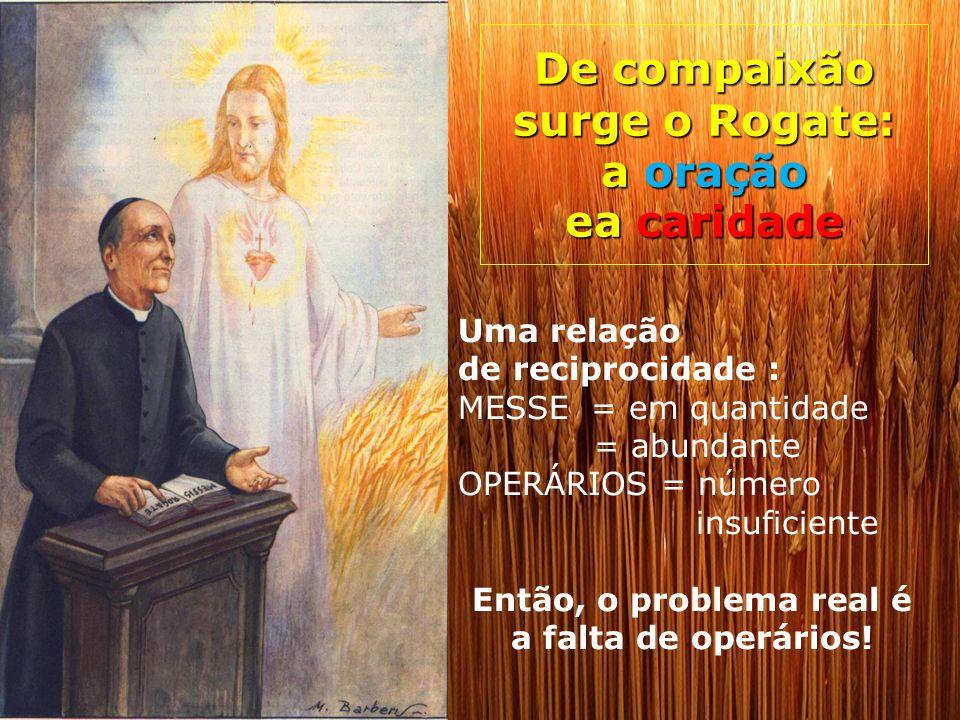 De compaixão surge o Rogate: a oração ea caridade Uma relação de reciprocidade : MESSE = em quantidade = abundante OPERÁRIOS = número insuficiente Ent