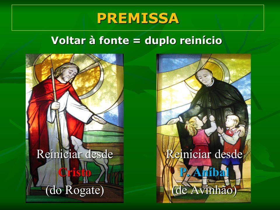 Voltar à fonte = duplo reinício PREMISSA Reiniciar desde Cristo (do Rogate) Reiniciar desde P. Aníbal (de Avinhão)