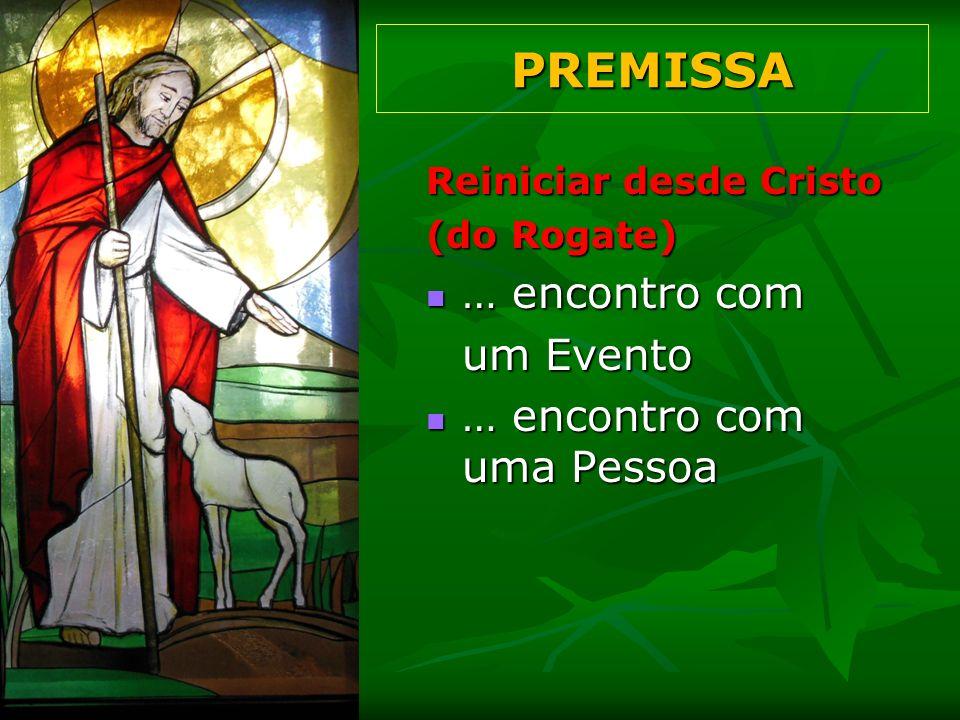 Reiniciar desde Cristo (do Rogate) (Aparecida, 18) Conhecer Jesus Conhecer Jesus = Alegria Seguir Jesus Seguir Jesus = Graça Compartilhar Jesus Compartilhar Jesus = Compromisso PREMISSA