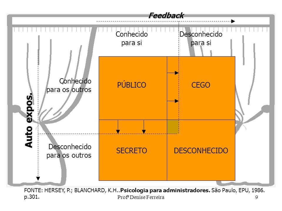 Profª Denise Ferreira10 JANELA DE JOHARI eu-outrosO processo de solicitar feedback e de auto-exposição mostram aspectos importantes do relacionamento eu-outros sob forma de estilos interpessoais de comunicação.