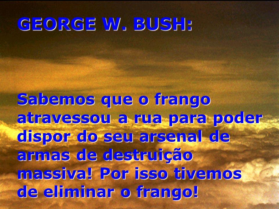 GEORGE W. BUSH: Sabemos que o frango atravessou a rua para poder dispor do seu arsenal de armas de destruição massiva! Por isso tivemos de eliminar o