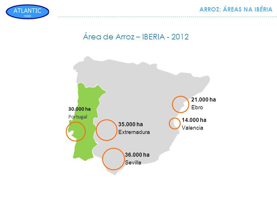 Área de Arroz – IBERIA - 2012 35.000 ha Extremadura 36.000 ha Sevilla 14.000 ha Valencia 21.000 ha Ebro 30.000 ha Portugal ARROZ: ÁREAS NA IBÉRIA