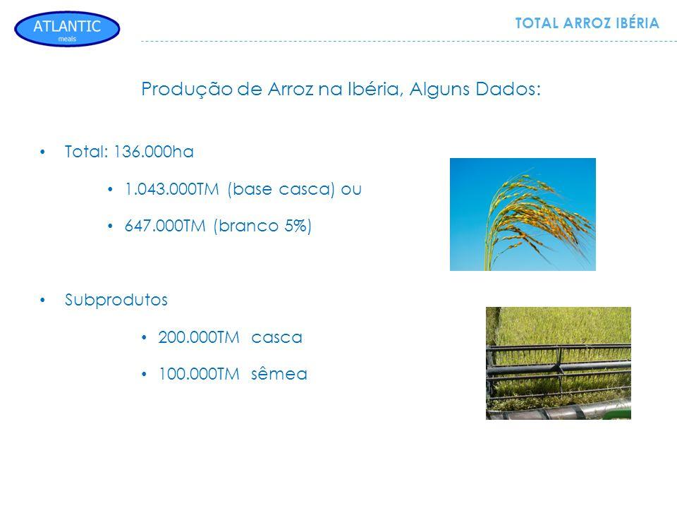 TOTAL ARROZ IBÉRIA Total: 136.000ha 1.043.000TM (base casca) ou 647.000TM (branco 5%) Subprodutos 200.000TM casca 100.000TM sêmea Produção de Arroz na