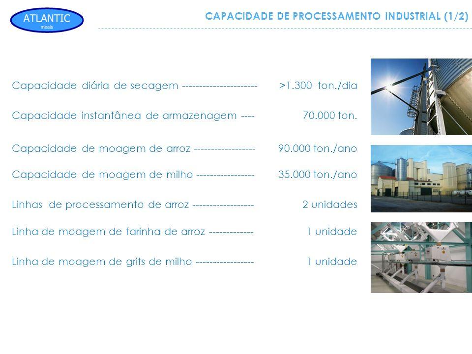 Capacidade diária de secagem ---------------------->1.300 ton./dia Capacidade instantânea de armazenagem ----70.000 ton. Capacidade de moagem de arroz