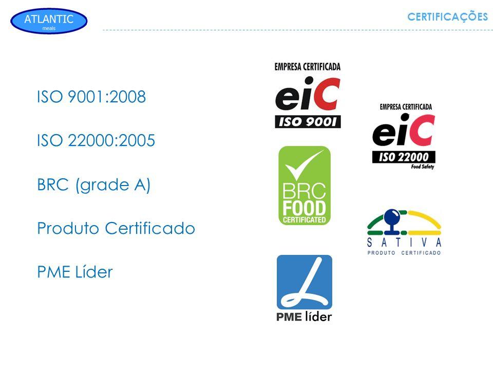 CERTIFICAÇÕES ISO 9001:2008 ISO 22000:2005 BRC (grade A) Produto Certificado PME Líder
