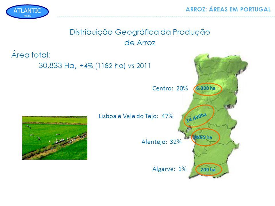 ARROZ: ÁREAS EM PORTUGAL 6.300 ha 14.430ha 9895 ha 209 ha Centro: 20% Lisboa e Vale do Tejo: 47% Alentejo: 32% Algarve: 1% Área total: 30.833 Ha, +4%