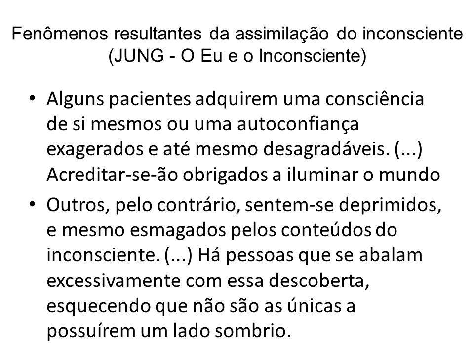 Fenômenos resultantes da assimilação do inconsciente (JUNG - O Eu e o Inconsciente) Alguns pacientes adquirem uma consciência de si mesmos ou uma auto