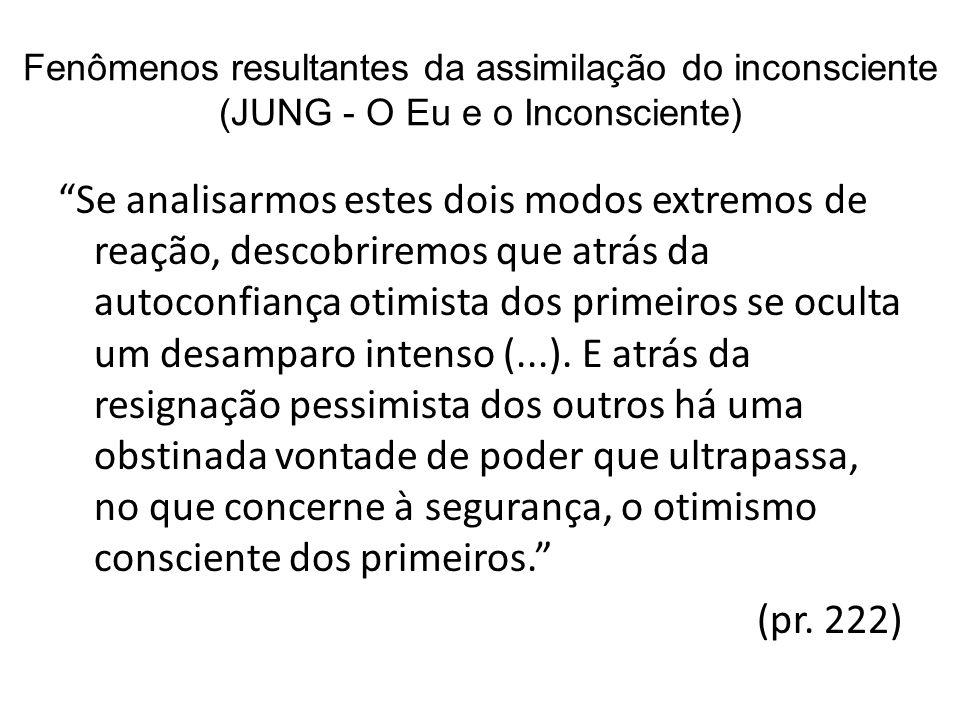 Fenômenos resultantes da assimilação do inconsciente (JUNG - O Eu e o Inconsciente) Se analisarmos estes dois modos extremos de reação, descobriremos