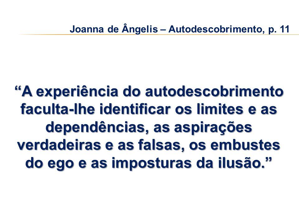 Joanna de Ângelis – Autodescobrimento, p. 11 A experiência do autodescobrimento faculta-lhe identificar os limites e as dependências, as aspirações ve