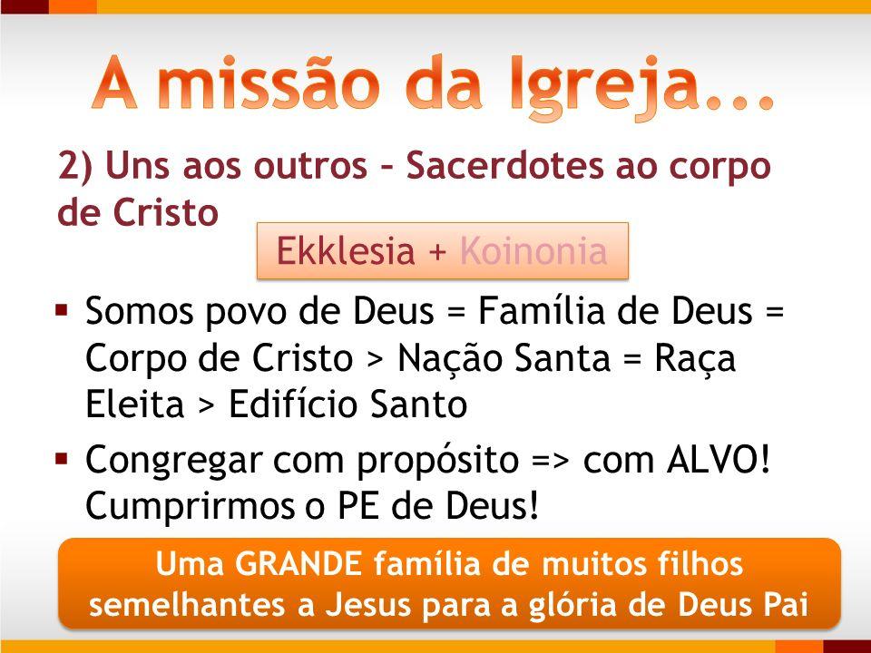 2) Uns aos outros – Sacerdotes ao corpo de Cristo Somos povo de Deus = Família de Deus = Corpo de Cristo > Nação Santa = Raça Eleita > Edifício Santo
