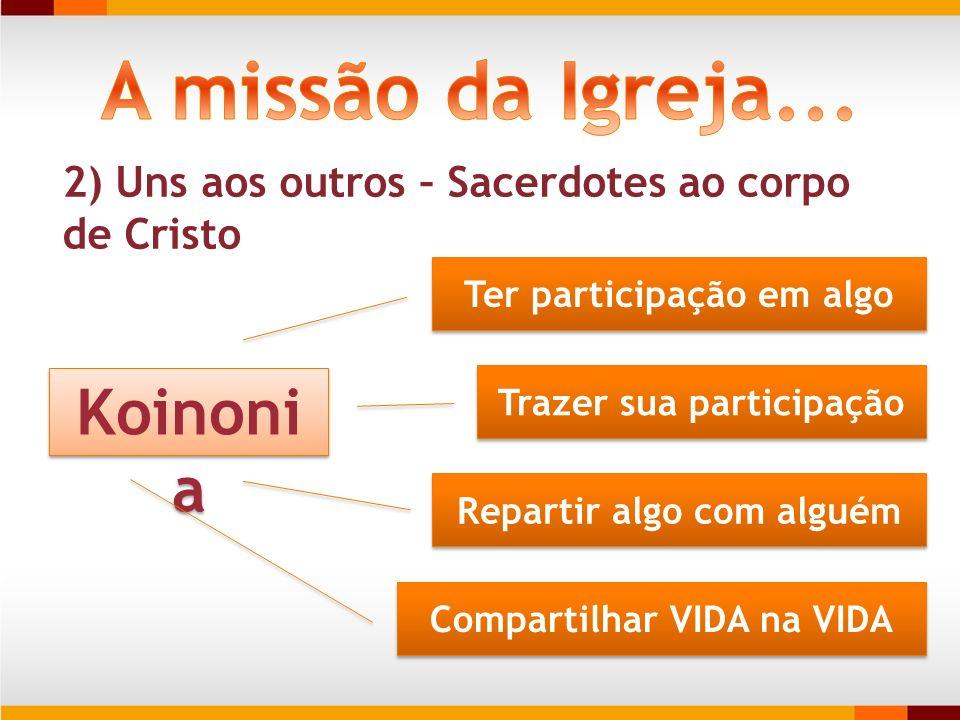 2) Uns aos outros – Sacerdotes ao corpo de Cristo Koinoni a Ter participação em algo Trazer sua participação Repartir algo com alguém Compartilhar VID