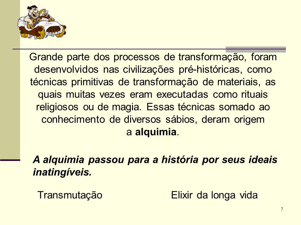 7 Grande parte dos processos de transformação, foram desenvolvidos nas civilizações pré-históricas, como técnicas primitivas de transformação de materiais, as quais muitas vezes eram executadas como rituais religiosos ou de magia.