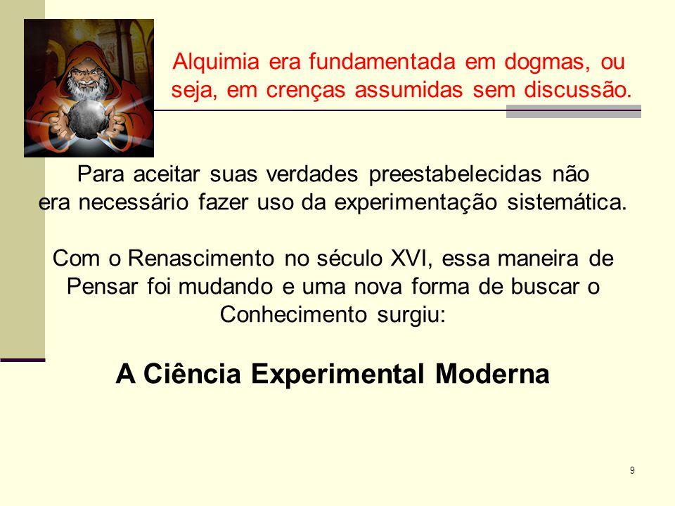 9 Alquimia era fundamentada em dogmas, ou seja, em crenças assumidas sem discussão.