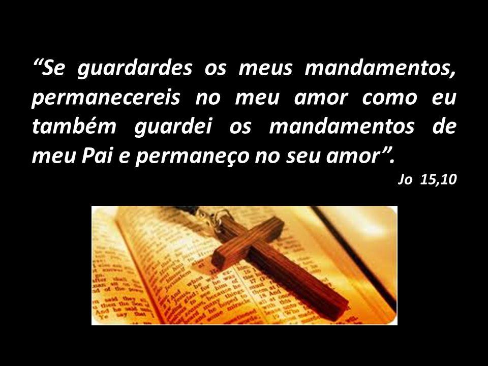 Se guardardes os meus mandamentos, permanecereis no meu amor como eu também guardei os mandamentos de meu Pai e permaneço no seu amor. Jo 15,10
