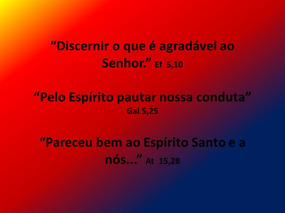 Discernir o que é agradável ao Senhor. Ef 5,10 Pelo Espírito pautar nossa conduta Gal 5,25 Pareceu bem ao Espírito Santo e a nós... At 15,28