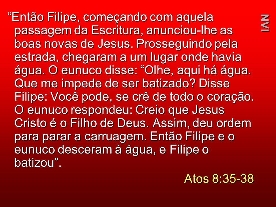 Então Filipe, começando com aquela passagem da Escritura, anunciou-lhe as boas novas de Jesus. Prosseguindo pela estrada, chegaram a um lugar onde hav