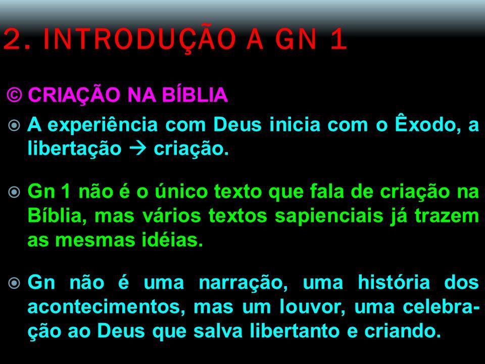 2. INTRODUÇÃO A GN 1 © CRIAÇÃO NA BÍBLIA A experiência com Deus inicia com o Êxodo, a libertação criação. Gn 1 não é o único texto que fala de criação