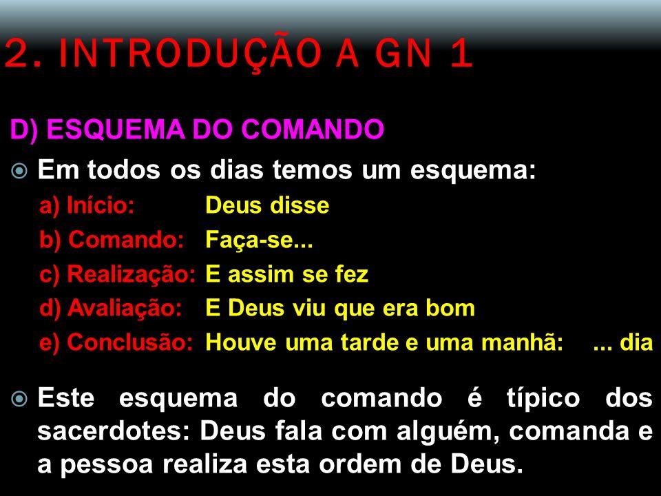 2. INTRODUÇÃO A GN 1 D) ESQUEMA DO COMANDO Em todos os dias temos um esquema: a) Início:Deus disse b) Comando:Faça-se... c) Realização:E assim se fez