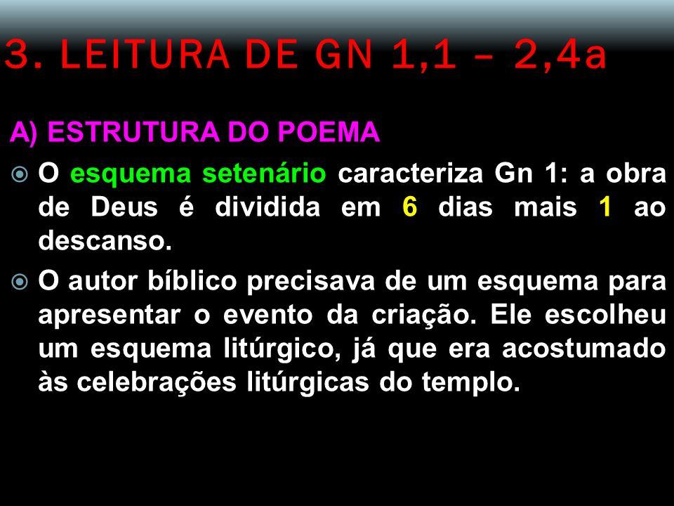 3. LEITURA DE GN 1,1 – 2,4a A) ESTRUTURA DO POEMA O esquema setenário caracteriza Gn 1: a obra de Deus é dividida em 6 dias mais 1 ao descanso. O auto