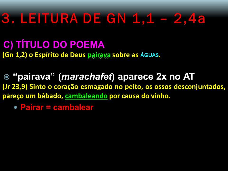 3. LEITURA DE GN 1,1 – 2,4a C) TÍTULO DO POEMA (Gn 1,2) o Espírito de Deus pairava sobre as ÁGUAS. pairava (marachafet) aparece 2x no AT (Jr 23,9) Sin