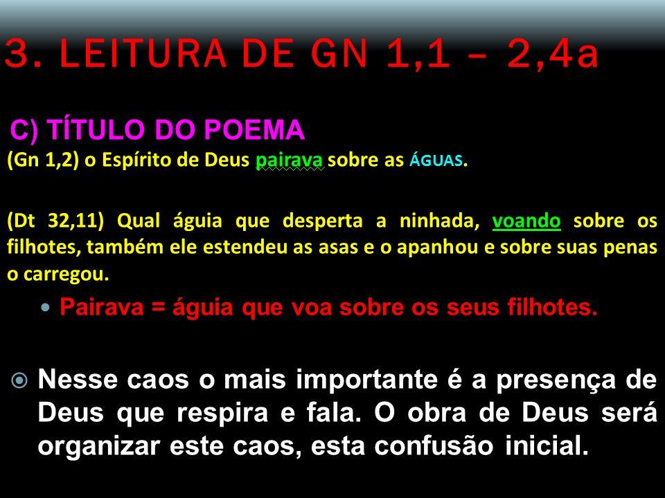 3. LEITURA DE GN 1,1 – 2,4a C) TÍTULO DO POEMA (Gn 1,2) o Espírito de Deus pairava sobre as ÁGUAS. (Dt 32,11) Qual águia que desperta a ninhada, voand