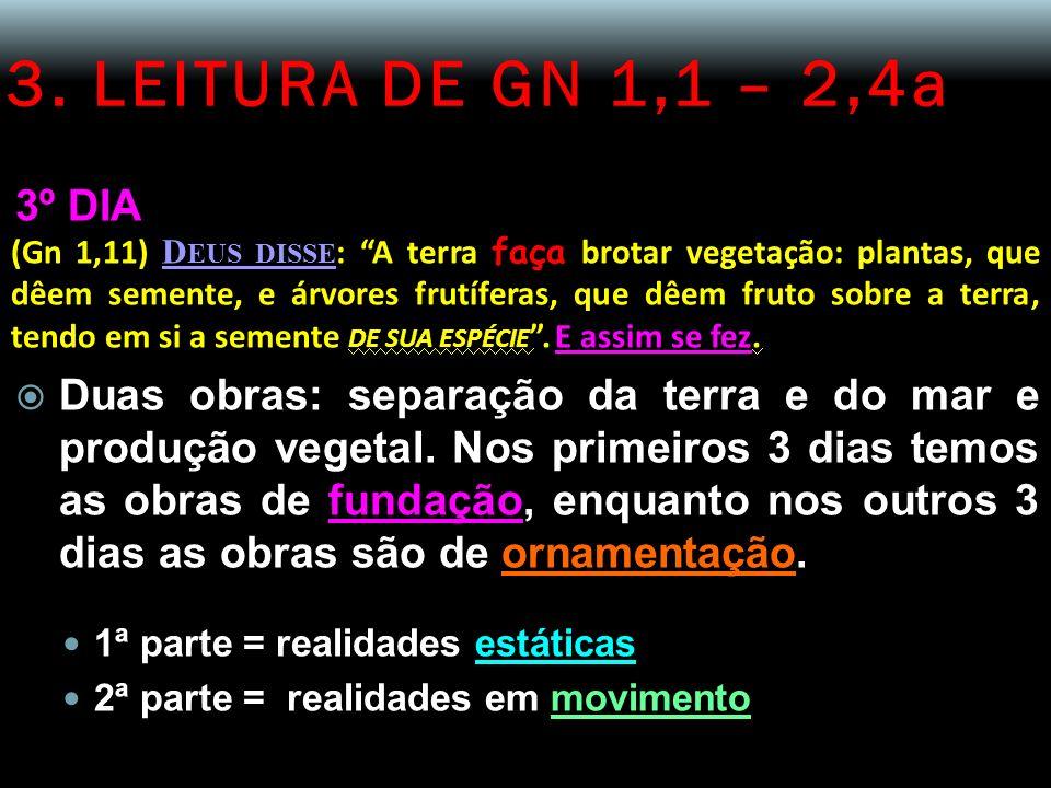 3. LEITURA DE GN 1,1 – 2,4a 3º DIA (Gn 1,11) D EUS DISSE : A terra faça brotar vegetação: plantas, que dêem semente, e árvores frutíferas, que dêem fr