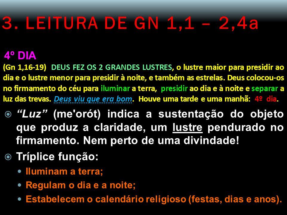 3. LEITURA DE GN 1,1 – 2,4a 4º DIA (Gn 1,16-19) DEUS FEZ OS 2 GRANDES LUSTRES, o lustre maior para presidir ao dia e o lustre menor para presidir à no