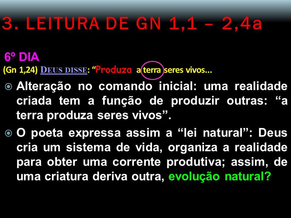 3. LEITURA DE GN 1,1 – 2,4a 6º DIA (Gn 1,24) D EUS DISSE : Produza a terra seres vivos... Alteração no comando inicial: uma realidade criada tem a fun
