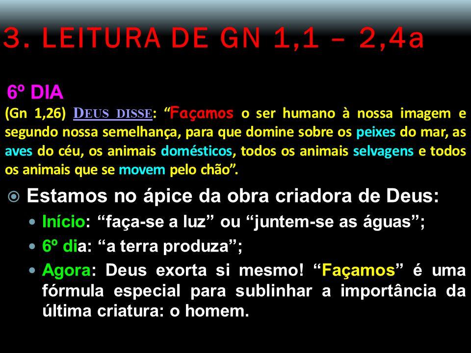 3. LEITURA DE GN 1,1 – 2,4a 6º DIA (Gn 1,26) D EUS DISSE : Façamos o ser humano à nossa imagem e segundo nossa semelhança, para que domine sobre os pe