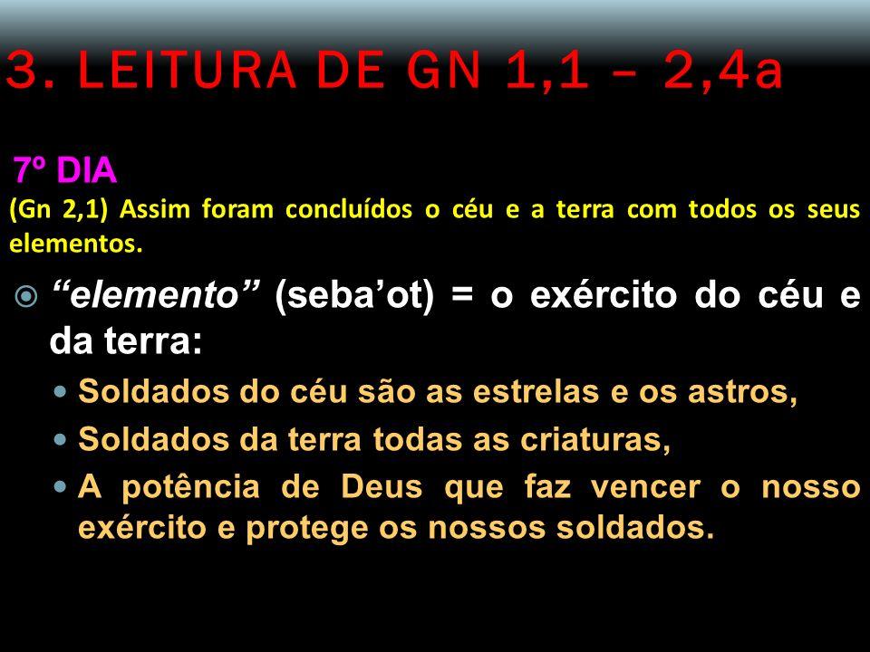 3. LEITURA DE GN 1,1 – 2,4a 7º DIA (Gn 2,1) Assim foram concluídos o céu e a terra com todos os seus elementos. elemento (sebaot) = o exército do céu