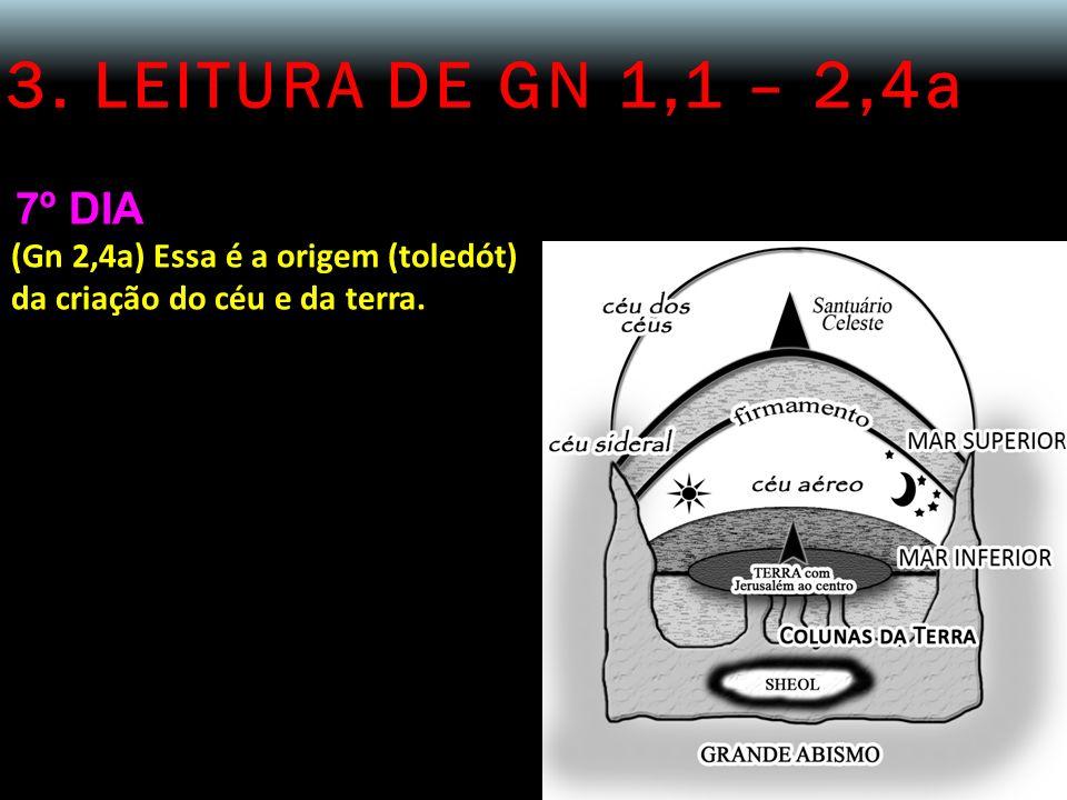 3. LEITURA DE GN 1,1 – 2,4a 7º DIA (Gn 2,4a) Essa é a origem (toledót) da criação do céu e da terra.