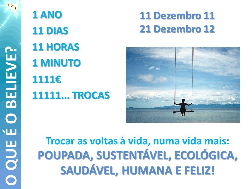 1 ANO 11 DIAS 11 HORAS 1 MINUTO 1111 11111... TROCAS O QUE É O BELIEVE? 11 Dezembro 11 21 Dezembro 12 POUPADA, SUSTENTÁVEL, ECOLÓGICA, SAUDÁVEL, HUMAN