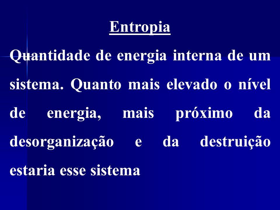 Entropia Quantidade de energia interna de um sistema.