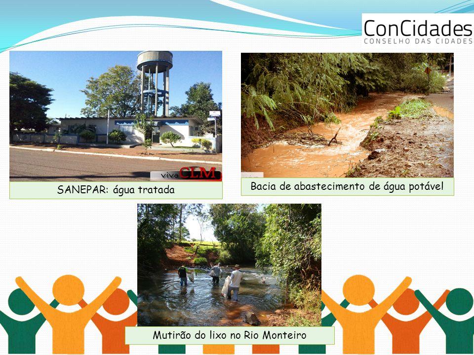 SANEPAR: água tratada Bacia de abastecimento de água potável Mutirão do lixo no Rio Monteiro