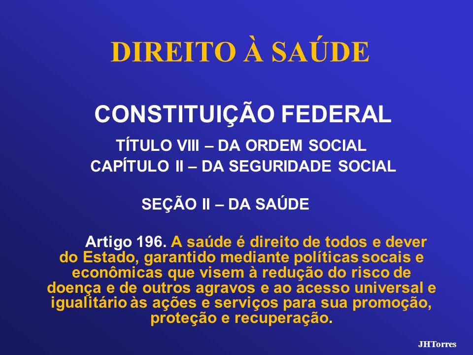 DIREITO À SAÚDE CONSTITUIÇÃO FEDERAL TÍTULO VIII – DA ORDEM SOCIAL CAPÍTULO II – DA SEGURIDADE SOCIAL SEÇÃO II – DA SAÚDE Artigo 196. A saúde é direit