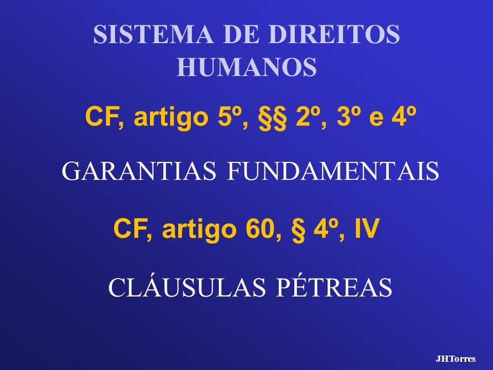 GARANTIAS FUNDAMENTAIS SISTEMA DE DIREITOS HUMANOS CF, artigo 5º, §§ 2º, 3º e 4º CF, artigo 60, § 4º, IV CLÁUSULAS PÉTREAS JHTorres