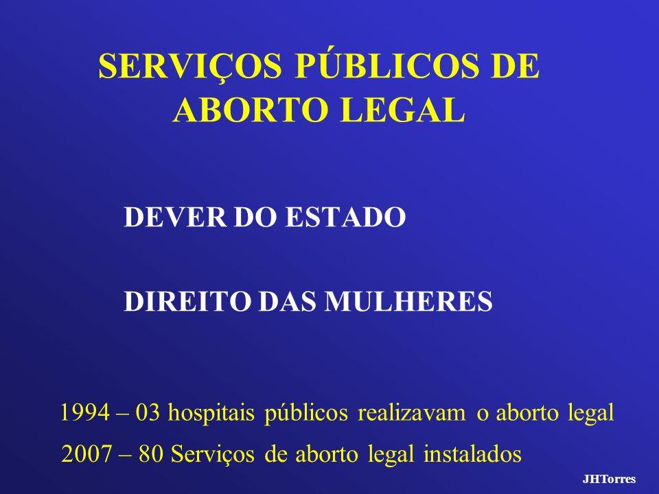 SERVIÇOS PÚBLICOS DE ABORTO LEGAL DEVER DO ESTADO DIREITO DAS MULHERES 1994 – 03 hospitais públicos realizavam o aborto legal 2007 – 80 Serviços de ab