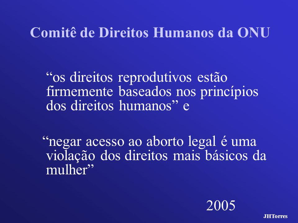 Comitê de Direitos Humanos da ONU os direitos reprodutivos estão firmemente baseados nos princípios dos direitos humanos e negar acesso ao aborto lega
