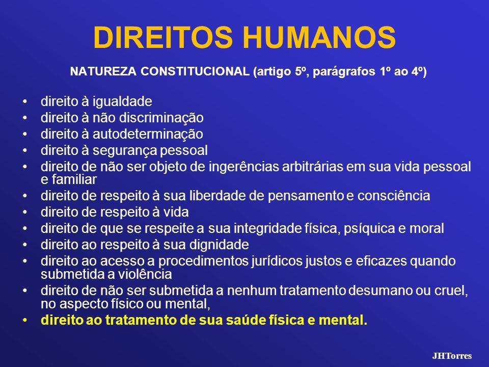 DIREITOS HUMANOS NATUREZA CONSTITUCIONAL (artigo 5º, parágrafos 1º ao 4º) direito à igualdade direito à não discriminação direito à autodeterminação d