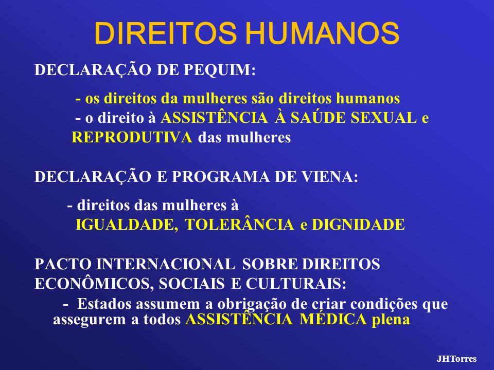 DIREITOS HUMANOS DECLARAÇÃO DE PEQUIM: - os direitos da mulheres são direitos humanos - o direito à ASSISTÊNCIA À SAÚDE SEXUAL e REPRODUTIVA das mulhe